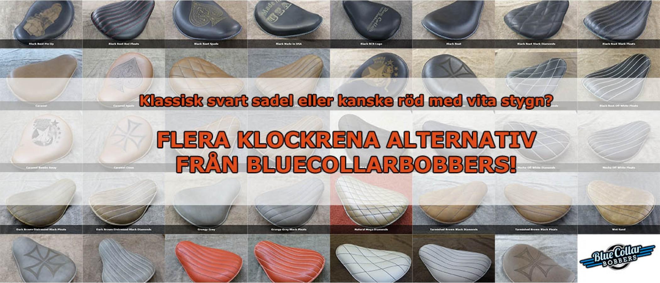 Flera klockrena alternativ på sadlar från BlueCollarBobbers!