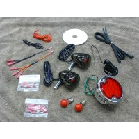 1932 Ford Rear Light Kit with Black Nickel Signal Lights (Honda Rebel 125/250)