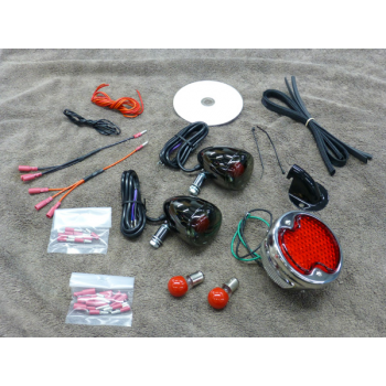 1932 Ford Rear Light Kit Black Nickel (Honda Shadow Aero / Phantom)