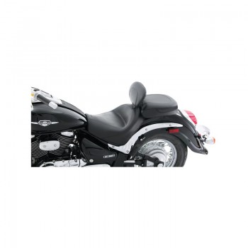 Mustang Wide Touring Two-Piece Vintage Seat with Driver Backrest, No Studs, No Conchos (Suzuki Boulevard C50 & T)