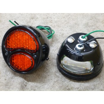 1929 Ford Rear Light Kit Black (Honda VTX 1300 C)