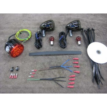 Retro with Black Nickel Rear Light Kit (Honda Ace 750)