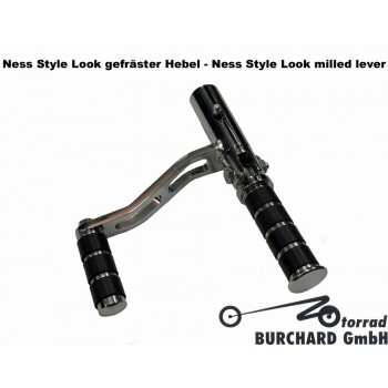 Forward Controls Kit 35 cm forward for Honda CB 500 Four - Honda CB 550 Four TÜV - Black Dull - Ness Style Look Milled Levers