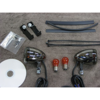 Black Nickel Front Light Kit (Kawasaki Vulcan 400 & 800)